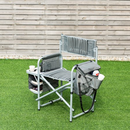 Folding Compact Director's Chair Aluminum Cup Holder Side Table Cooler Bag - image 6 of 10