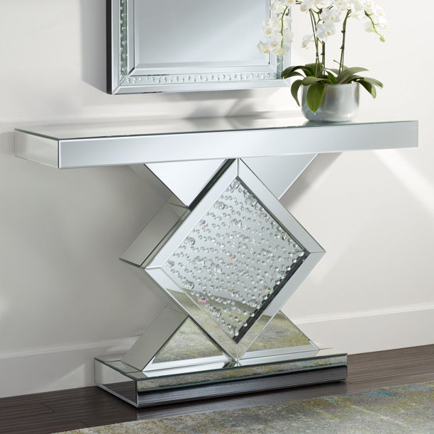 "Studio 55D Fostoria 46 1/2"" Wide Silver-Mirror Crystal Console Table"