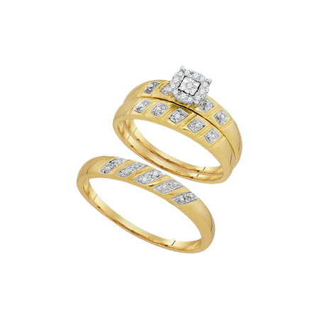 10kt Yellow Gold His Hers Round Diamond Solitaire Matching Bridal Wedding Ring Band Set 1/10 Cttw