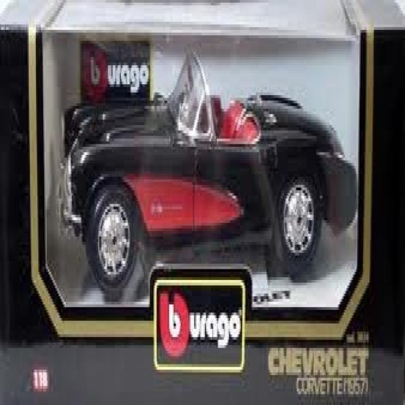 Burago 3034br 1957 Chevrolet Corvette - Red and Black Con...