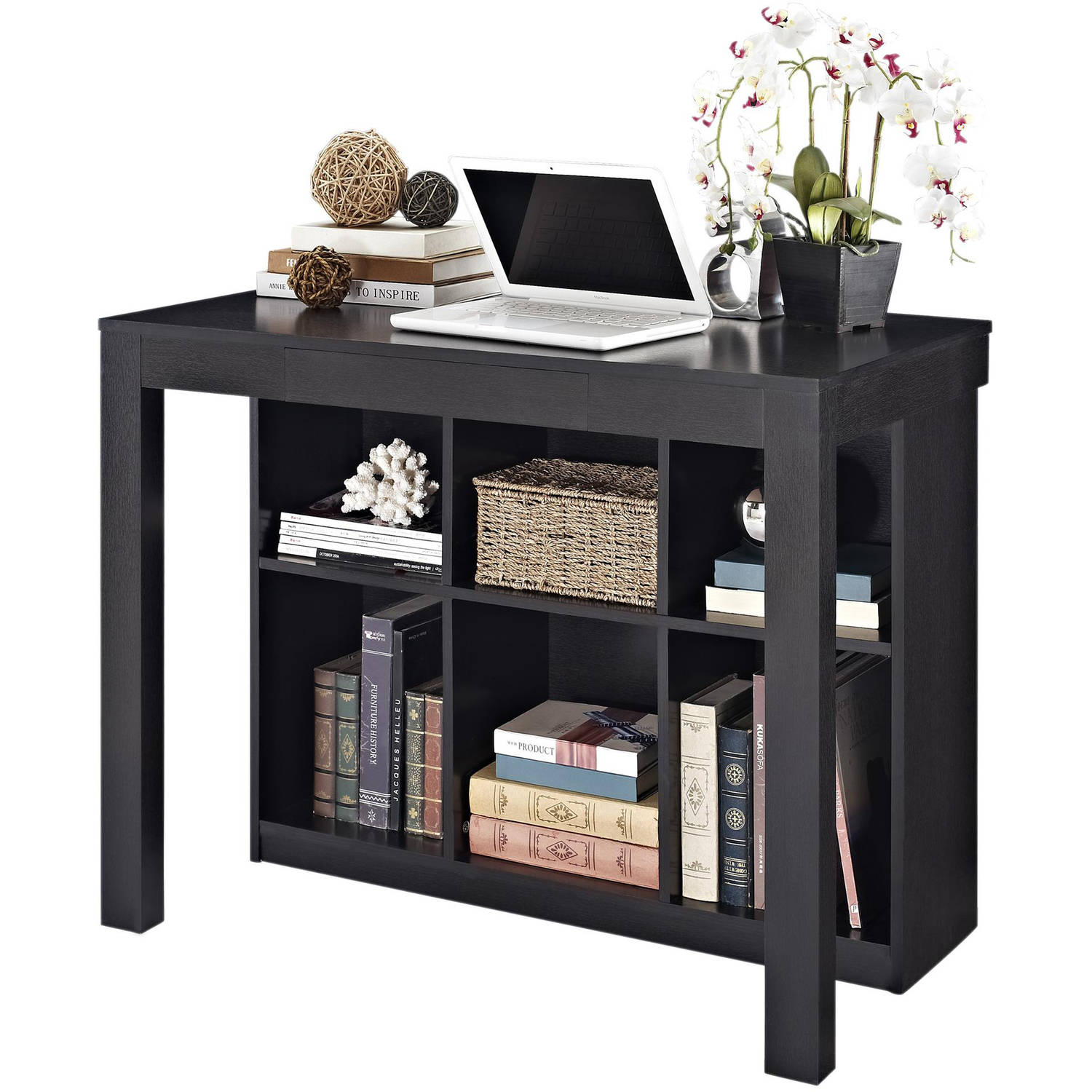 Altra Furniture Parsons Style Desk with Drawer and Bookcase, Black Oak