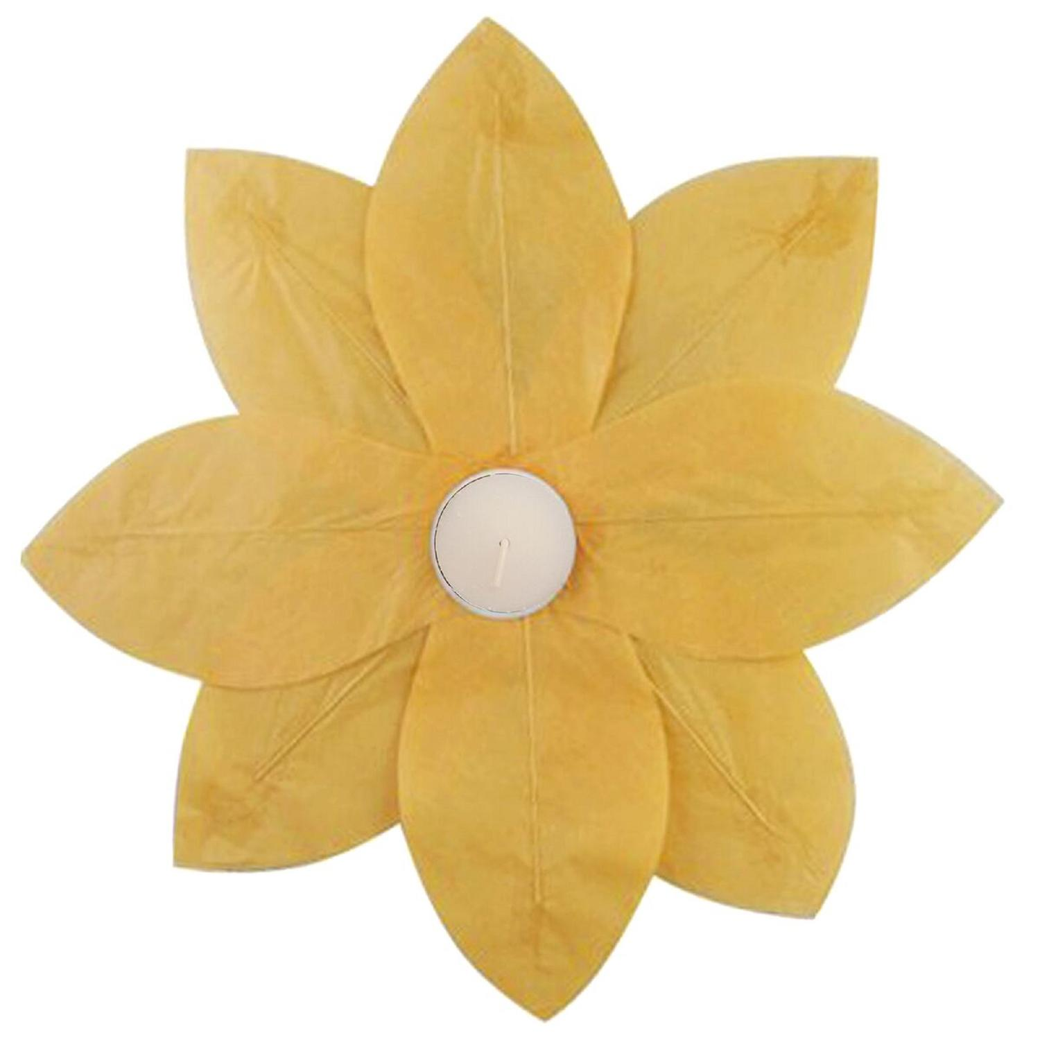 Pack Of 6 Yellow Floating Lotus Paper Flower Outdoor Patio Decor