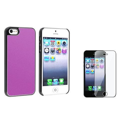 INSTEN Purple Frost Aluminum Rear Hard Case for Apple iPhone 5 5s + Screen Protector