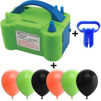 Electric Balloon Pump w/Tying Tool and 90 Balloons, 12 inch, 3 Colors - 30 Peach, 30 Lime Green, and 30 Black. Lightweight Inflator has Two Nozzles to Make Blowing Quick and Easy