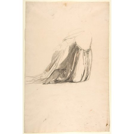 Drapery Study For Sainte Clotilde  Middle Register Study For Wall Paintings In The Chapel Of Saint Remi Sainte Clotilde Paris 1858  Poster Print By Isidore Pils  French Paris 181315   1875 Douarnenez