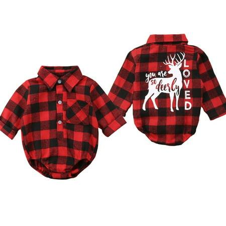 Newborn Baby Girls Boys Plaid Check Christmas Elk Romper Bodysuit Outfit Clothes (Plaid Onesie)