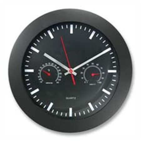 Wall Clock - w- Temp Humidity Gauge- 12in.- Black ()
