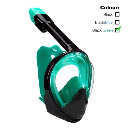 ROADWI NEW Full Face Snorkel Mask Easy Breath Panoramic 180 View with Anti Fog Anti Leak 100% Silicone Skirt Dry Snorkel Technology Scuba Diving Mask For Adults (SIZE: