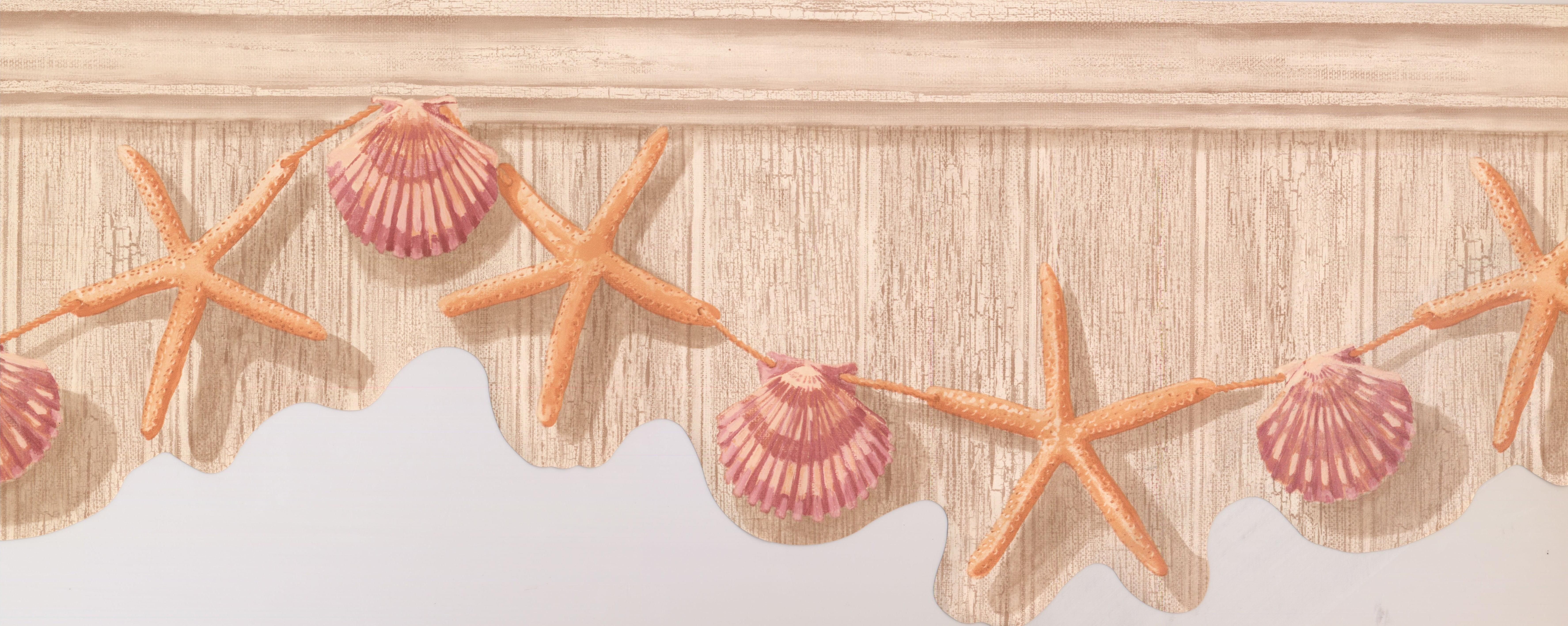 Orange Starfish Purple Seashell Hanging On Tan Grey Wall Nautical Wallpaper Border Retro Design Roll 15 X 95