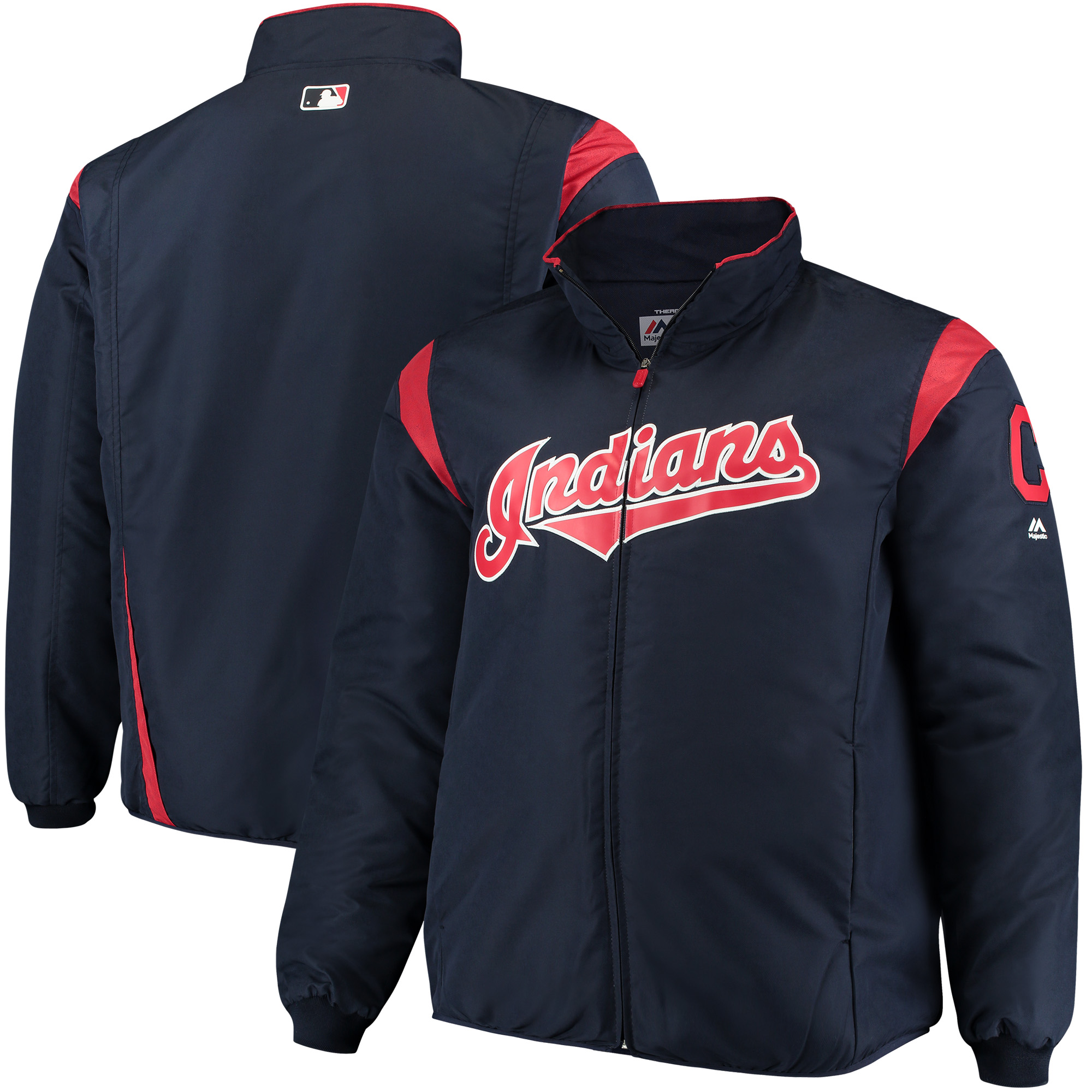 Cleveland Indians Majestic Big & Tall On-Field Premier Full-Zip Jacket - Navy