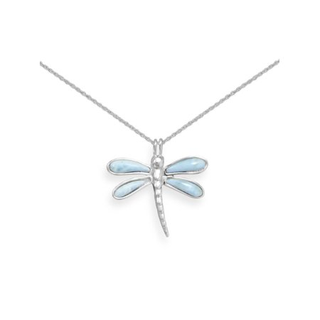 Dragonfly Necklace with Larimar Atlantis Stone Rhodium on Sterling Silver - Nontarnish Dragonfly Sterling Silver Cufflinks