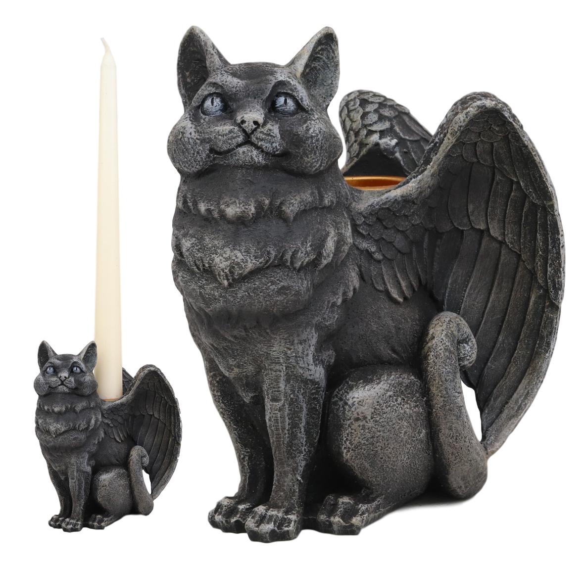 Ebros Gothic Angel Winged Cat Gargoyle