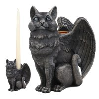 Ebros Gothic Angel Winged Cat Gargoyle Candle Holder Statue Medieval Renaissance Fantasy Gargoyles Angelic Cats Felines Sculpture Halloween Home Decor in Faux Stone Finish Resin