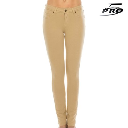 Pro 5 Apparel Girls Skinny Stretched Terry Pants Khaki School Uniform 4-14 Size - Girls Apparel