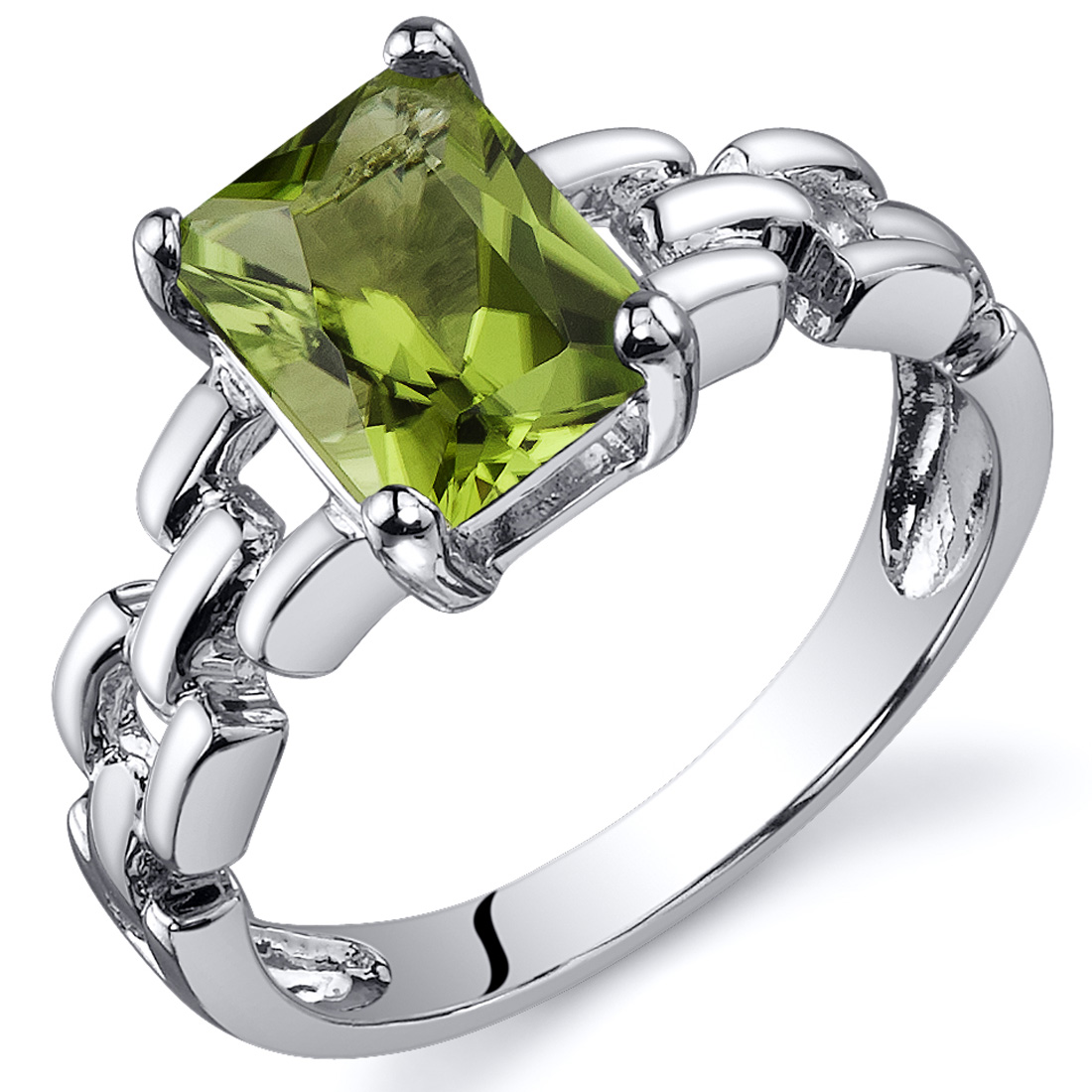 Peora 1.50 Ct Green Amethyst Engagement Ring in Rhodium-Plated Sterling Silver