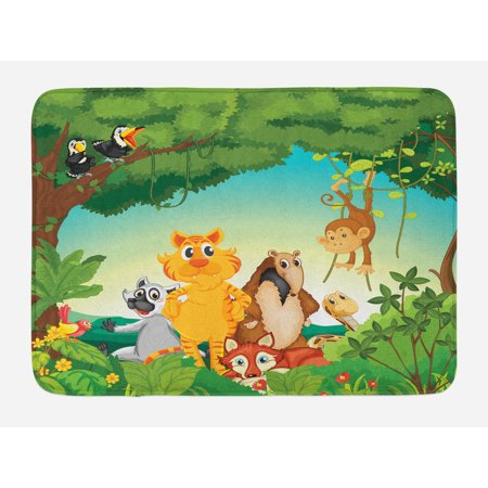 Zoo Bath Mat, Forest Scene with Different Animals Habitat Jungle Tropical Environment Kids Cartoon, Non-Slip Plush Mat Bathroom Kitchen Laundry Room Decor, 29.5 X 17.5 Inches, Multicolor, (Different Kinds Of Animals And Their Habitats)