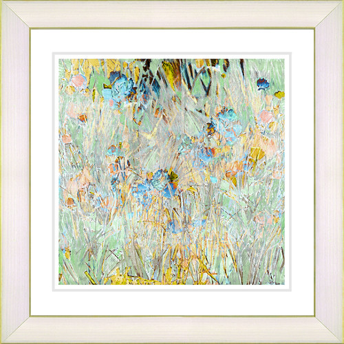 Studio Works Modern Spring 'Meadow' by Zhee Singer Framed Painting Print in Yellow/Blue