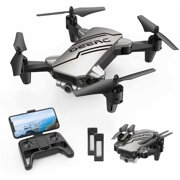 DEERC D20 Foldable Mini Drone with Camera for Kids and Beginners 720P FPV Quandcopter Drone for Adults Altitude Hold One Key Start/Land, Draw Path, 3D Flips 2 Batteries Double the Flight Time