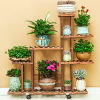 Fir Wood Plant Flower Pot Stand Shelf Rack Display Wheels Indoor Outdoor Garden