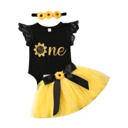 Wayren USA Newborn Infant Baby Clothes Girl 1st Birthday Tops One Bee Tutu Skirt Princess Party Dress Outfit