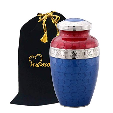 American Honor and Glory Cremation Urn - Large Solid Brass Red and Blue Star Veteran Urn - Adult Handcrafted Affordable American Flag Urn for Ashes with Free Bag