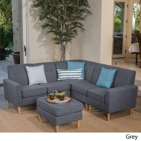 Christopher Knight Home Sawyer Mid Century Modern 6-piece Fabric Sectional  Sofa Set by