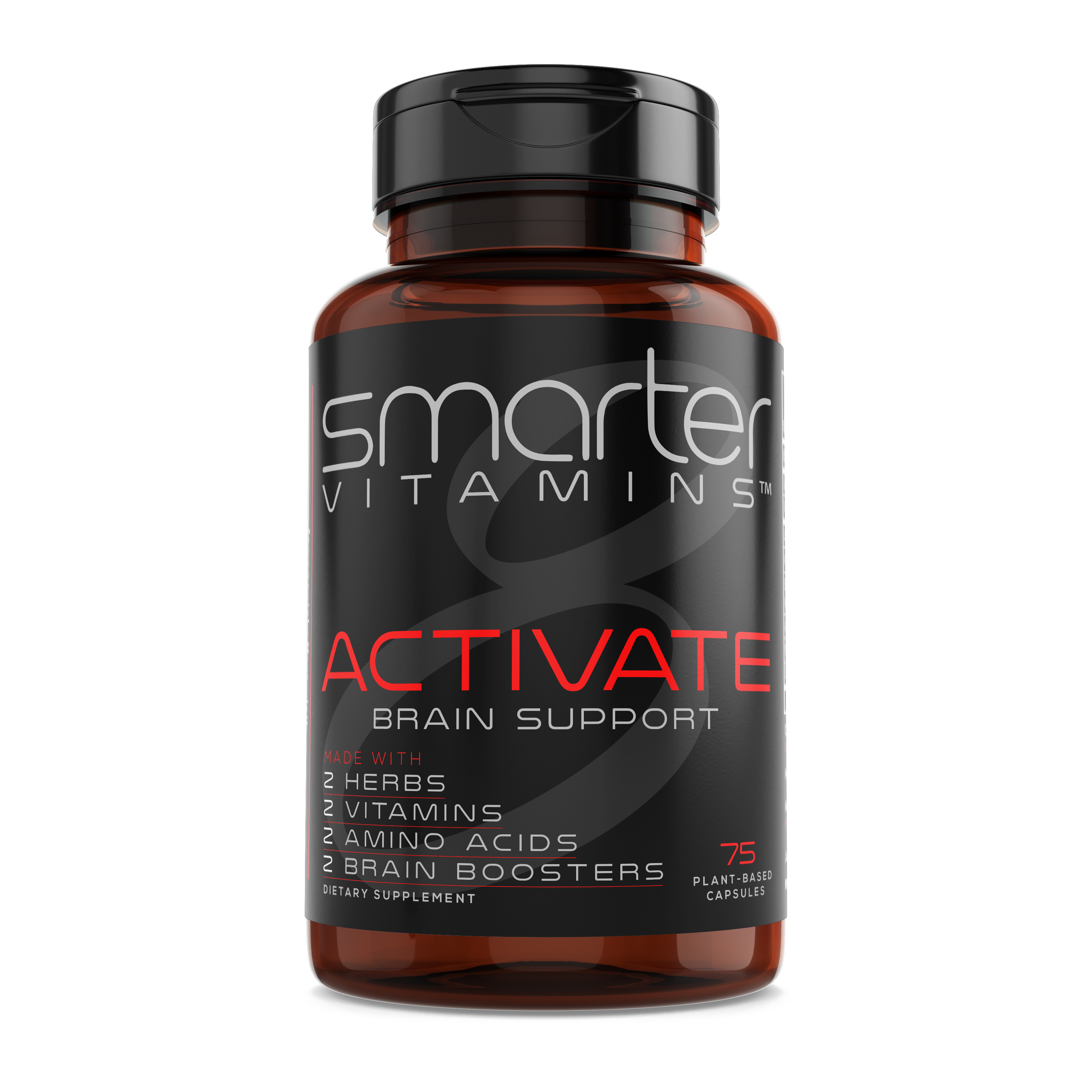 SmarterVitamins BRAIN HEALTH Supplement Supports Brain Function, Promotes Memory + Clarity, W/ L-Tyrosine, L-Carnitine, Bacopa 50%, Alpha-GPC, L-Dopa, Theanine, Vitamin B3 Niacin and Vitamin B6, Vegan