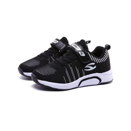 Sport Shoes for Boys Girls Hook and Loop Breathable Knit Sneakers Lightweight Mesh Athletic Kids Running Shoes Outdoor Sneakers(Toddler/Little Kid/Big