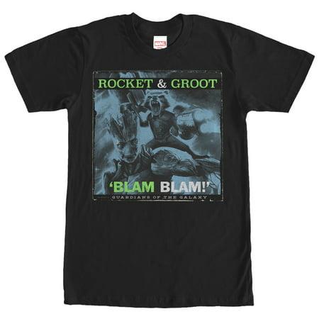 Marvel Men's Guardians of the Galaxy Rocket and Groot Blam T-Shirt - Villain Suit