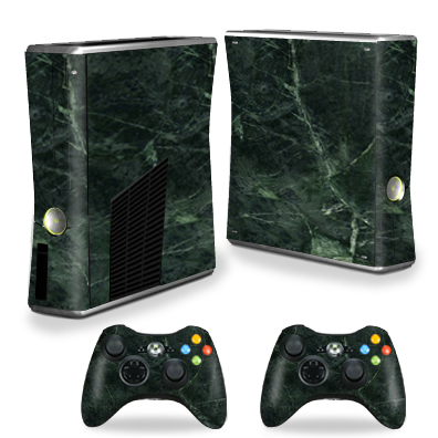 MightySkins Protective Vinyl Skin Decal for Xbox 360 S Slim + 2 controllers Case wrap cover sticker skins Green Marble