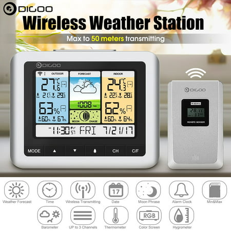 Digoo DG-TH8888Pro Indoor Outdoor Wireless Weather Forecast Station with Sensor, Thermometer- Hygrometer - Barometer - Snooze Desk Alarm Clock - Moon Phase Meter
