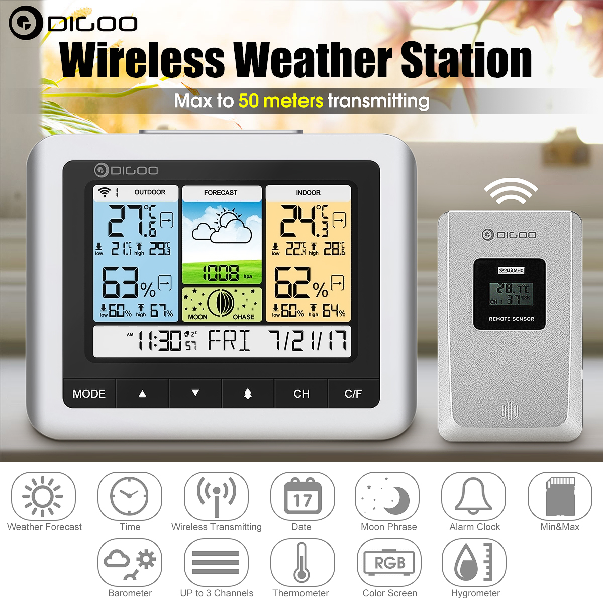 Grtsunsea Digoo DG-TH8888 Colorful Wireless Weather Forecast Station with Sensor Indoor Outdoor Thermometer Hygrometer Barometer Snooze Desk Alarm Clock Temperature Humidity Moon Phase Meter