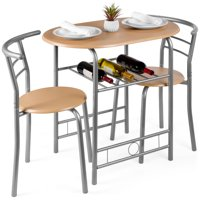 Best Choice Products 3-Piece Wooden Dining Room Round Table & Chairs Set w/ Steel Frame, Built-In Wine Rack - Natural