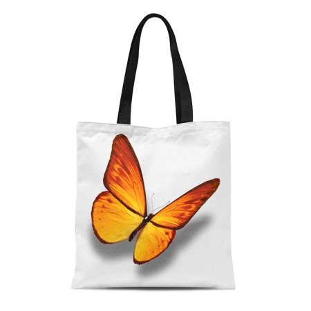 LADDKE Canvas Tote Bag Orange Flying Yellow Butterfly White Colorful Bright Single Wings Reusable Shoulder Grocery Shopping Bags