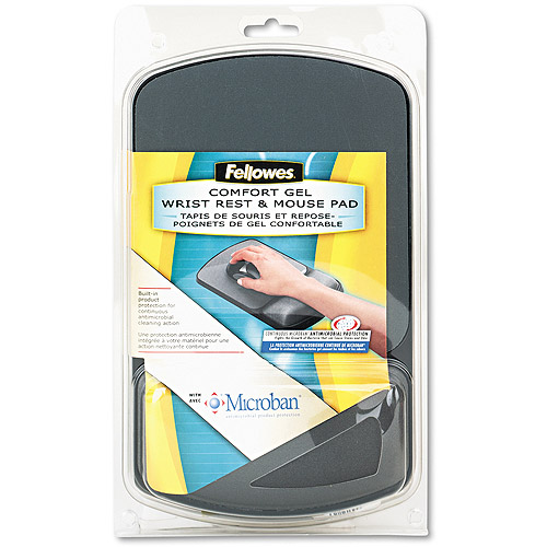 Fellowes Gel Wrist Rest w/ Microban Product Protection - Black