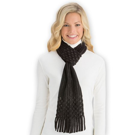 Pull Through Winter Scarf with Fringe, - Black Fringe Scarf