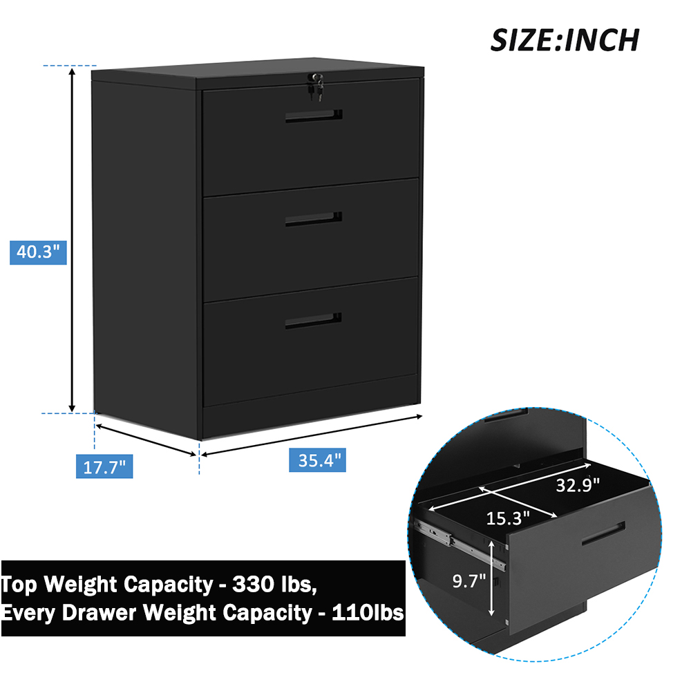Black Style B KOOPEEA Upgraded Stronger 3 Drawers Metal Lateral File Cabinet Heavy-Duty Steel Filing Cabinet with Lock Lockable Lateral Filing Cabinet with Anti-Tilt Structure for Home Office