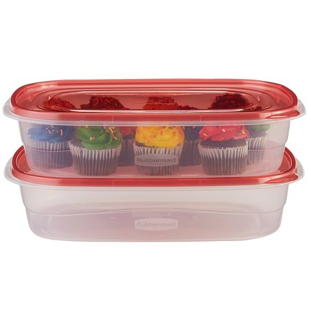 TakeAlongs Food Storage Container, Large Rectangles, 1 Gal, 2 Pack, Red, Featuring Quick Click Seal for a tight seal ensuring contents are secure By Rubbermaid Ship from (2 Tight)