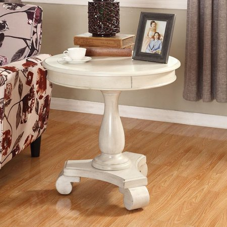 Roundhill Furniture Rene Round Wood Pedestal Side Table, - Brazilian Wood Furniture