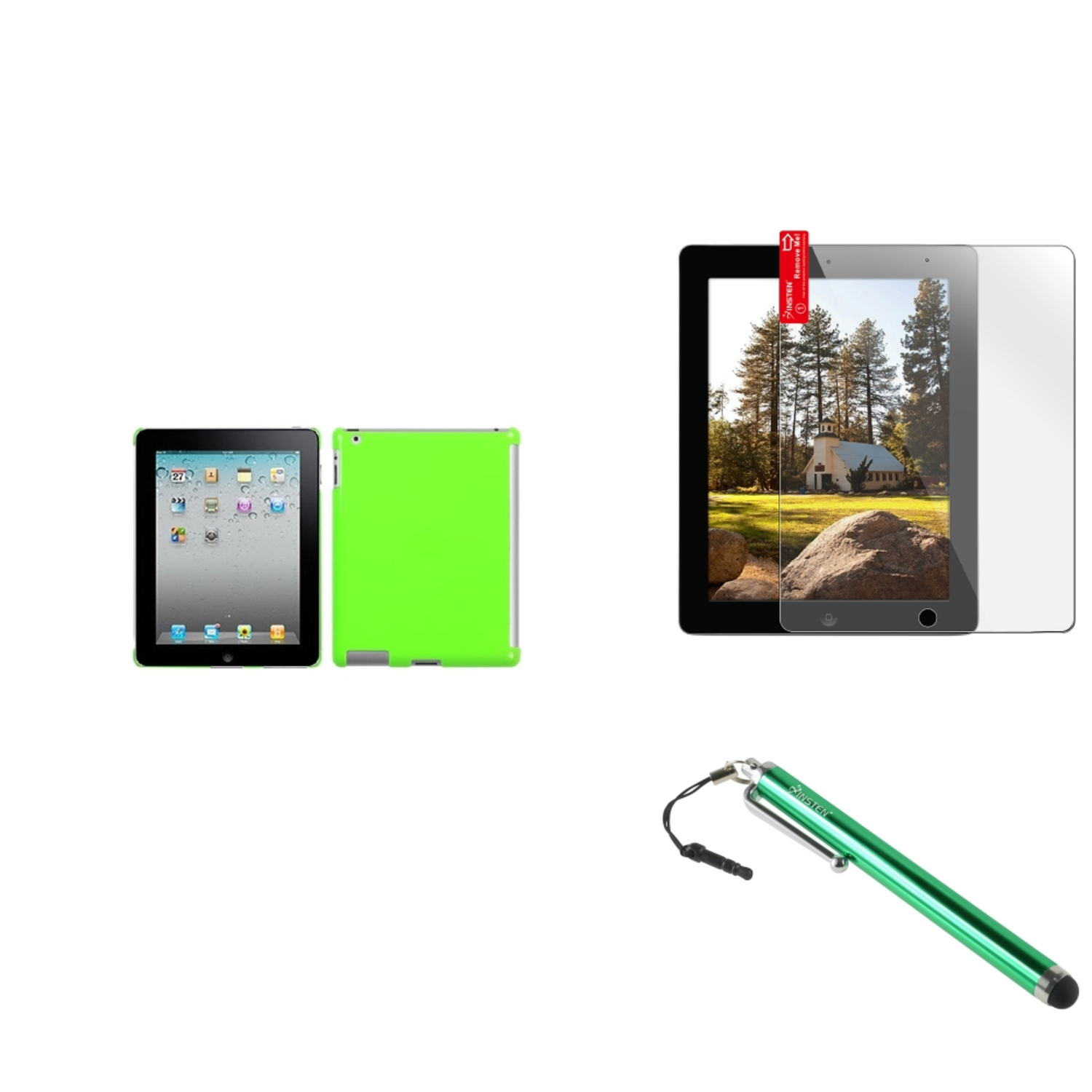Insten Pearl Green SmartSlim Back Case Cover+Protector+Stylus For Apple iPad 4/3/2 New