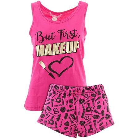 Love Loungewear Juniors But First Makeup Pink Shorty Valentines Pajamas - Valentines Pajamas