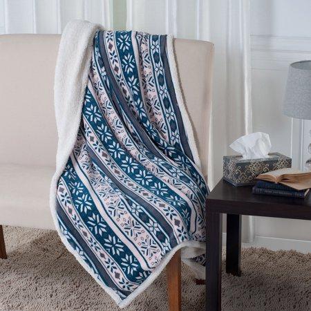 Snowflake Blanket (Fleece and Sherpa Blanket Throw - Snowflakes by Somerset)