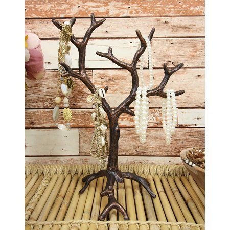 Ebros Rustic Fashion Accessories Jewelry Fall Autumn Barren Tree Display Holder Hooks Stand Metal Cast Iron Sculpture 13.5