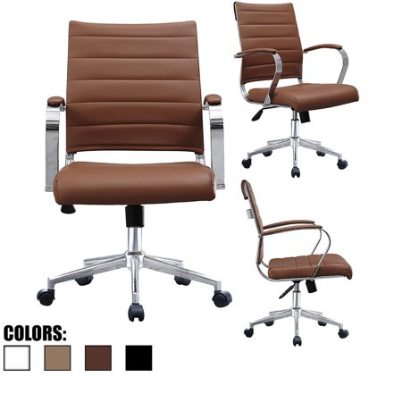 Pleasant 2Xhome Brown Modern Mid Back Ribbed Pu Leather Chair With Wheels Arm Rest W Tilt Adjustable Cushion Seat Designer Boss Executive Office Chair Work Gmtry Best Dining Table And Chair Ideas Images Gmtryco