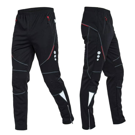 Men's Cycling Pants Athletic Pants Windproof Thermal Fleece Winter Bike Riding Running Sports Pants