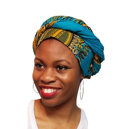 Turquoise African Print Ankara Head wrap, Tie, scarf One Size