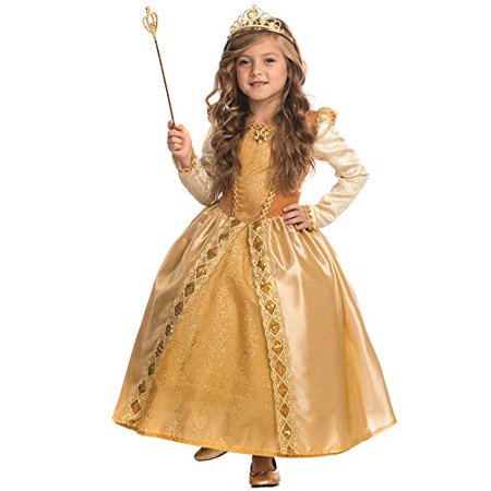 Majestic Golden Princess Costume for Girls By Dress Up America -Size Large (12-14)