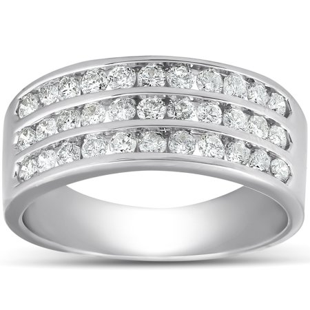 1 Ct TDW Three Row Channel Set Diamond Wedding Ring 10k White Gold Band 3 Row Band Ring