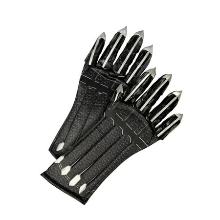 Marvel Black Panther Movie Child Deluxe Black Panther Gloves With Claws Halloween Costume Accessory - Costume Black Gloves