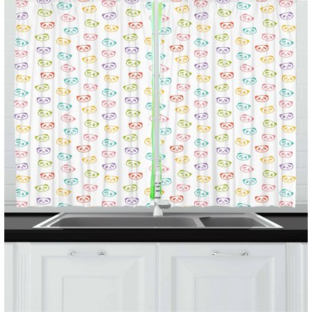 Baby Curtains 2 Panels Set, Funny Panda Bears Colorful Cute Animals Cheerful Smile Wild Kids Nursery Baby Concept, Window Drapes for Living Room Bedroom, 55W X 39L Inches, Multicolor, by Ambesonne